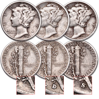 Image for 1944 PDS Mercury Dime Set from Littleton Coin Company