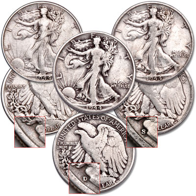 Image for 1944 PDS Liberty Walking Half Dollar Set from Littleton Coin Company
