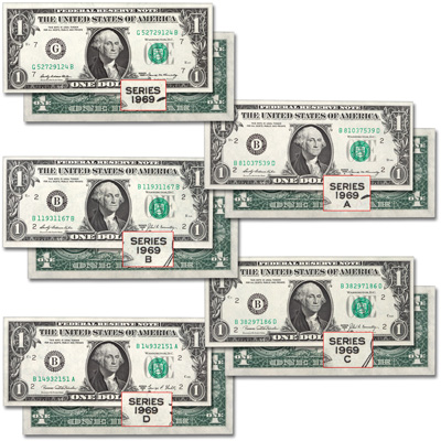 Image for 1969–1969-D $1 Federal Reserve Set (5 notes) from Littleton Coin Company