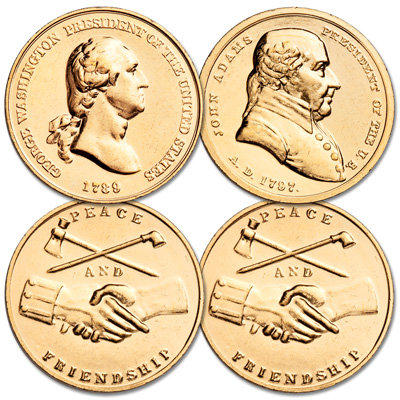 Image for Gold-Plated Washington & Adams Mint Medal Set from Littleton Coin Company