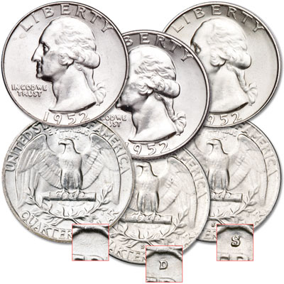 Image for 1952 PDS Washington Quarter Set from Littleton Coin Company