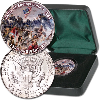 Image for 2014 Colorized Civil War Kennedy Half Dollar Battle of Spotsylvania from Littleton Coin Company