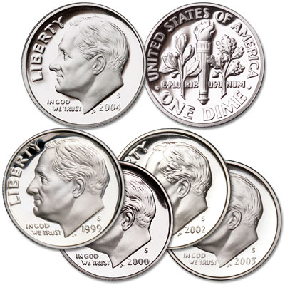 Image for 1999-2004 90% Silver Roosevelt Dime Set (5 coins) from Littleton Coin Company