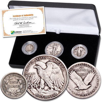 Image for 1837-1947 Three Silver Coins of Liberty Set from Littleton Coin Company