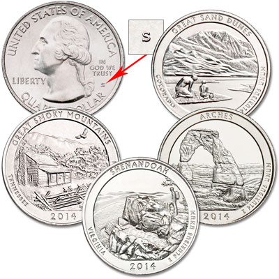 Image for 2014-S Unc. National Park Quarter Set (4 coins) from Littleton Coin Company
