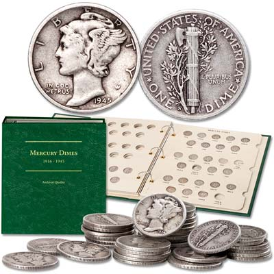 Image for 1934-1945 Mercury Dime Short Set with Album from Littleton Coin Company