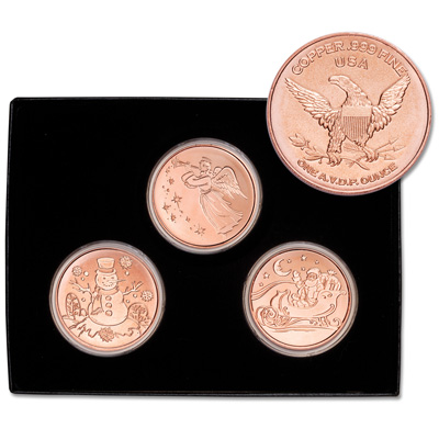 Image for 1 oz. Copper Holiday Round Set from Littleton Coin Company