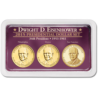 Image for 2015 Dwight D. Eisenhower Presidential Dollar in Exclusive PDS Showpak from Littleton Coin Company