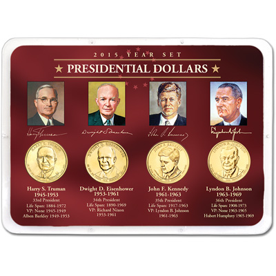 Image for 2015 Presidential Dollar Year Set in Showpak (4 coins) from Littleton Coin Company