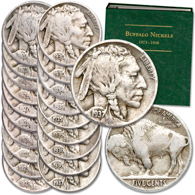 Image for 1920-1937 Buffalo Nickel Set (20 coins) with Album from Littleton Coin Company