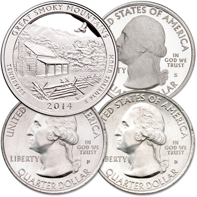 Image for 2014 PDS Great Smoky Mountains National Park Quarter Set from Littleton Coin Company