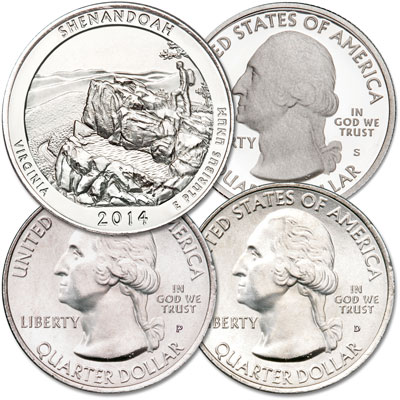 Image for 2014 PDS Shenandoah National Park Quarter Set from Littleton Coin Company