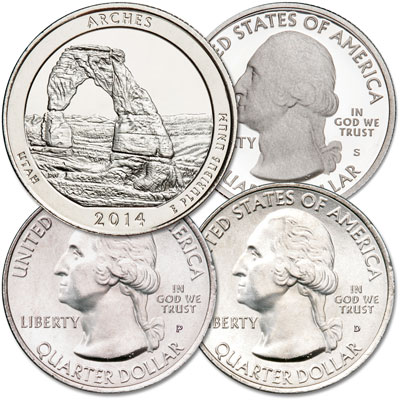 Image for 2014 PDS Arches National Park Quarter Set from Littleton Coin Company