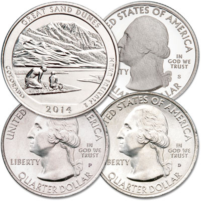 Image for 2014 PDS Great Sand Dunes National Park Quarter Set from Littleton Coin Company