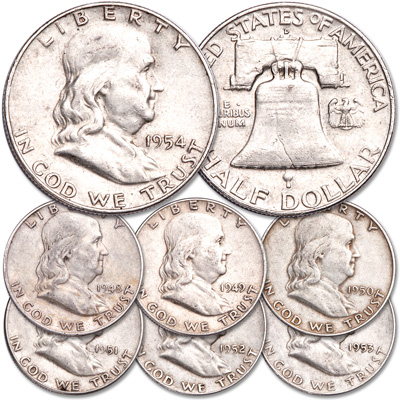 Image for 1948-1954 Franklin Half Dollar Year Set from Littleton Coin Company
