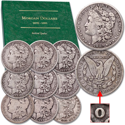 "Image for 1880-1889 ""O"" Mint Morgan Dollar Decade Set with Album from Littleton Coin Company"