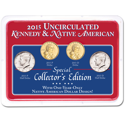 Image for 2015 P&D Kennedy Half Dollar & Native American Dollar Set in Showpak from Littleton Coin Company