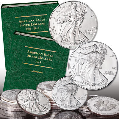 Image for 2000-2017 American Silver Eagle Year Set with Albums from Littleton Coin Company