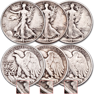 Image for 1945 PDS Liberty Walking Half Dollar Set (3 coins) from Littleton Coin Company