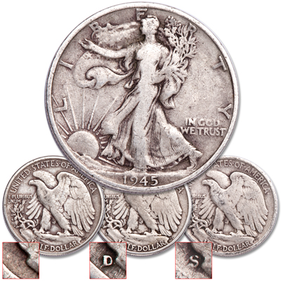 Image for 1945 PDS Liberty Walking Half Dollar Set from Littleton Coin Company