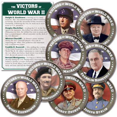 Image for Victors of WWII Colorized Kennedy Half Dollar Set from Littleton Coin Company