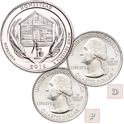 Image for 2015 P&D Homestead National Monument of America Quarter Set from Littleton Coin Company