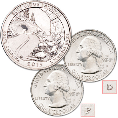Image for 2015 P&D Blue Ridge Parkway Quarter Set from Littleton Coin Company