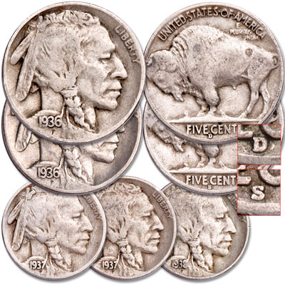 Image for 1936-1938 D&S Buffalo Nickel Set (5 coins) from Littleton Coin Company