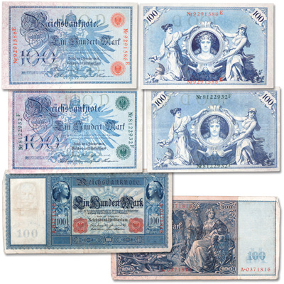 Image for 1900s Germany 100 Mark Bank Note Set (3 notes) from Littleton Coin Company