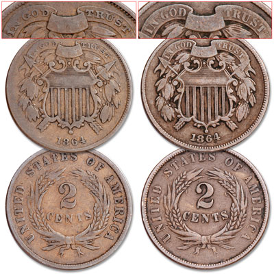 Image for 1864 Small and Large Motto 2¢ Piece Set from Littleton Coin Company
