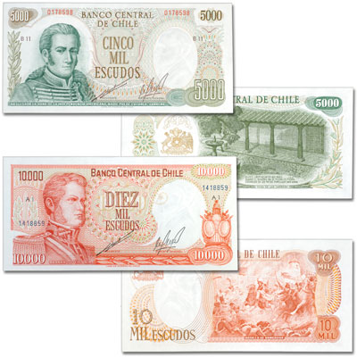 Image for ND (1973-1975) Chile 5,000 & 10,000 Escudos Set from Littleton Coin Company