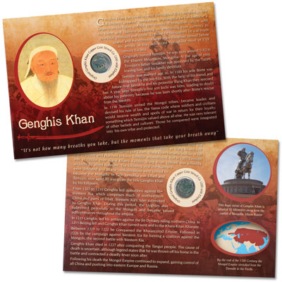 Image for A.D. 1200 Genghis Khan Elephant Coin in Display Card from Littleton Coin Company