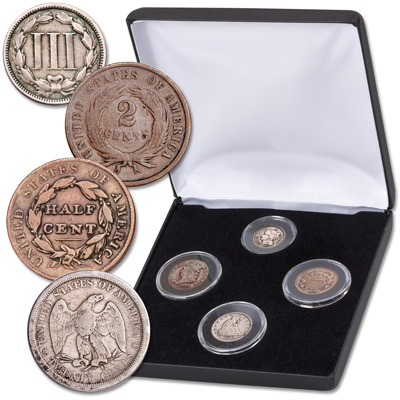 Image for Obsolete Denomination Set (4 coins) in Display Case from Littleton Coin Company