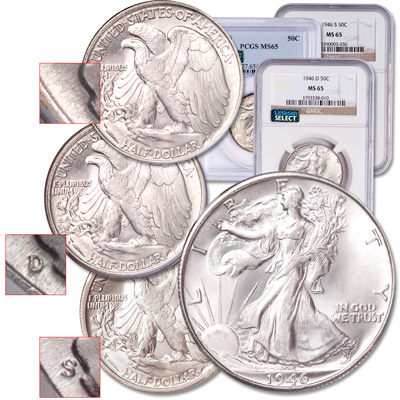 Image for 1946 PDS Liberty Walking Half Dollar Set from Littleton Coin Company