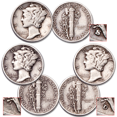 Image for Mercury Silver Dime PDS Set from Littleton Coin Company
