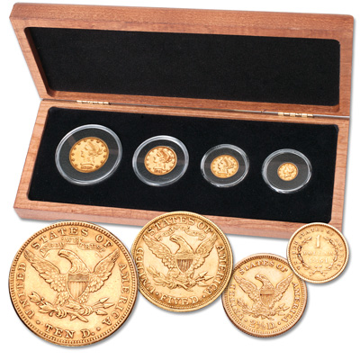 Image for 1851-1905 Gold Liberty Head Denomination Set(4 coins) in Cherry Wood Case from Littleton Coin Company