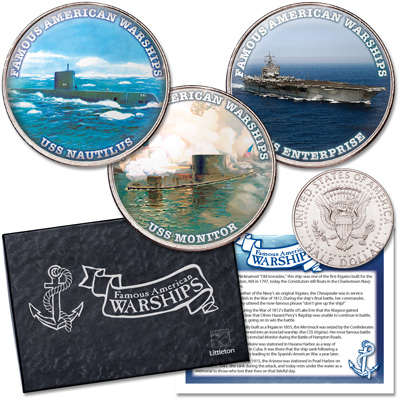 Image for Famous American Warships Colorized Kennedy Half Dollar Set in Display Box from Littleton Coin Company