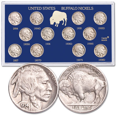Image for 1934-1938-D Buffalo Nickel Set (12 coins) in Display Holder from Littleton Coin Company