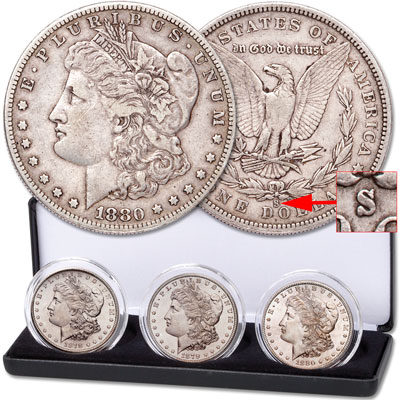 "Image for 1878-1880 ""S"" Mint Morgan Silver Dollar Set with Case from Littleton Coin Company"