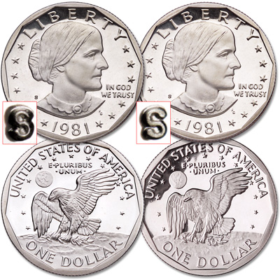 Image for 1981-S Susan B. Anthony Clear & Filled S Set from Littleton Coin Company