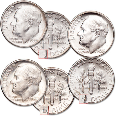 Image for 1955 PDS Roosevelt Dime Set from Littleton Coin Company
