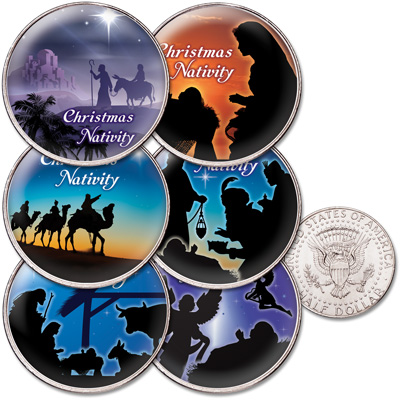 Image for Colorized Nativity Kennedy Half Dollar Set from Littleton Coin Company