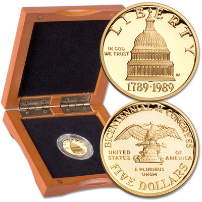 Image for 1989-W Congressional $5 Gold Piece with Case from Littleton Coin Company