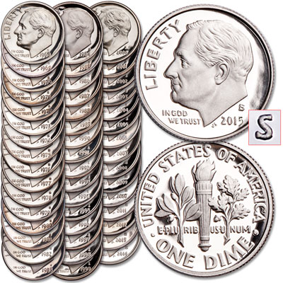 Image for 1968-2015 Roosevelt Dime Clad Proof Set from Littleton Coin Company