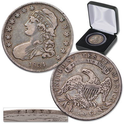 Image for 1823-1836 Capped Bust Half Dollar in Display Case from Littleton Coin Company