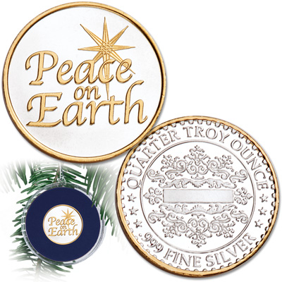 Image for Peace on Earth Silver Round Ornament from Littleton Coin Company
