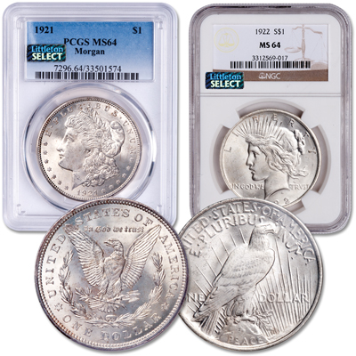 Image for 1921 Morgan & 1922 Peace Dollar Set from Littleton Coin Company