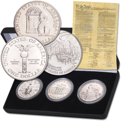Image for 1989-2005 Three Branches of Government Silver Dollar Set with Case from Littleton Coin Company