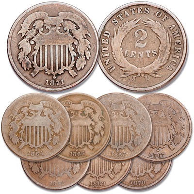 Image for 1864-1871 Two Cent Piece Set from Littleton Coin Company