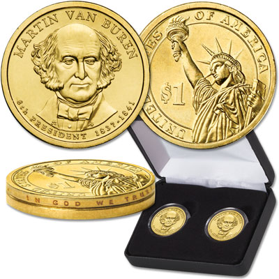 Image for 2008 Martin Van Buren Presidential Dollar Error & Regular Issue Set from Littleton Coin Company
